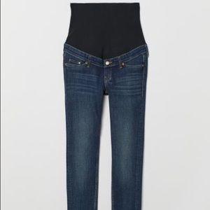 H&M MAMA Skinny Jeans in Dark Denim Blue Size 14